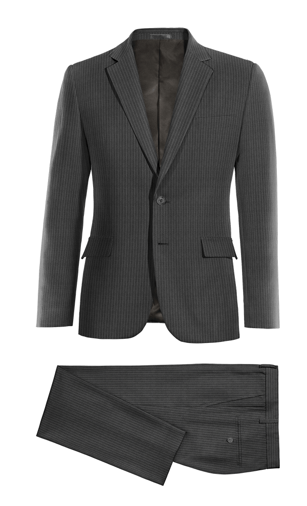 Grey striped 100% Wool Suit