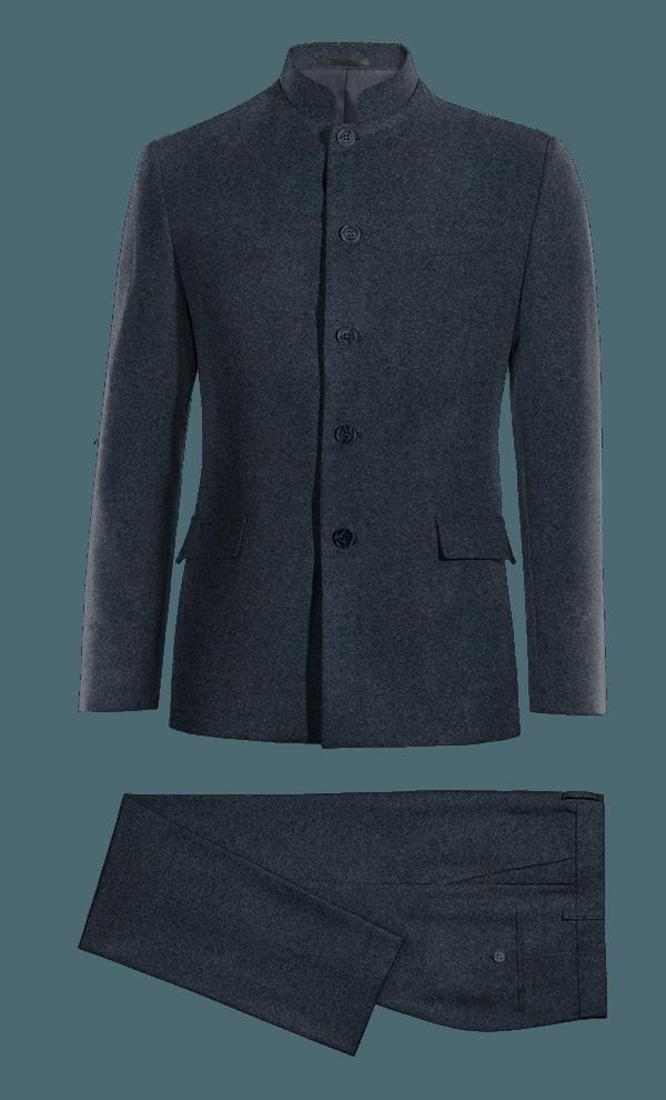Costume bleu Mao en tweed
