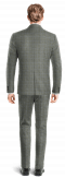 Grey checked wool Suit-View Back