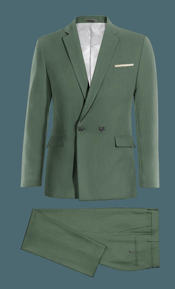 Costume vert croisé en Laine