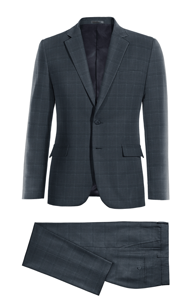 Blue checked Merino wool Suit