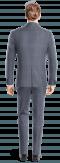 Blue striped linen Suit-View Back