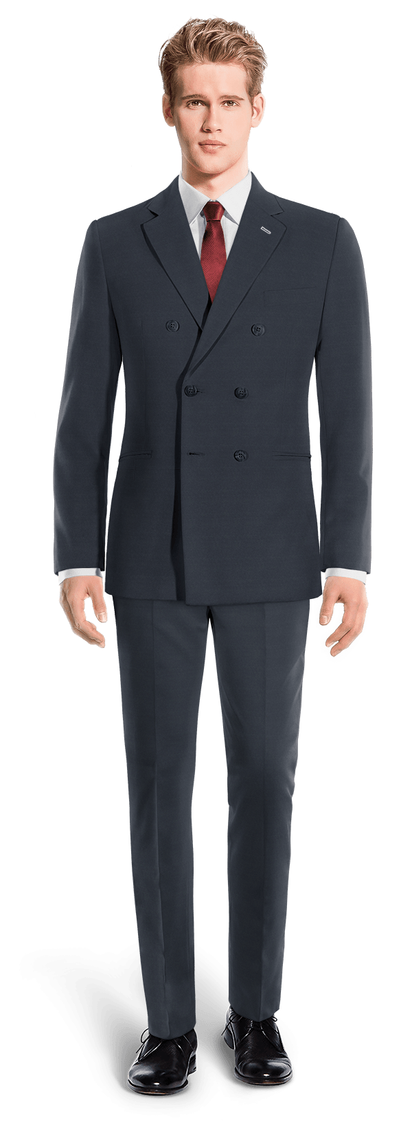 Blue Double breasted wool Suit $300 - Tarpon Blue | Hockerty
