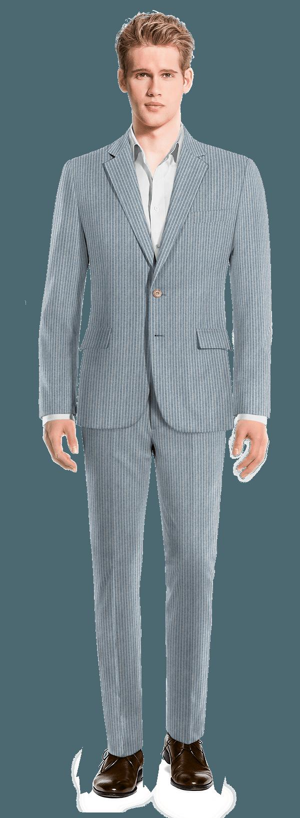 Blue striped linen Suit
