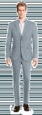 Blue striped linen Suit-View Front