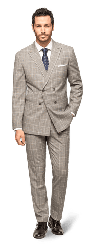 Grey Double breasted checked 100% Wool Suit-2