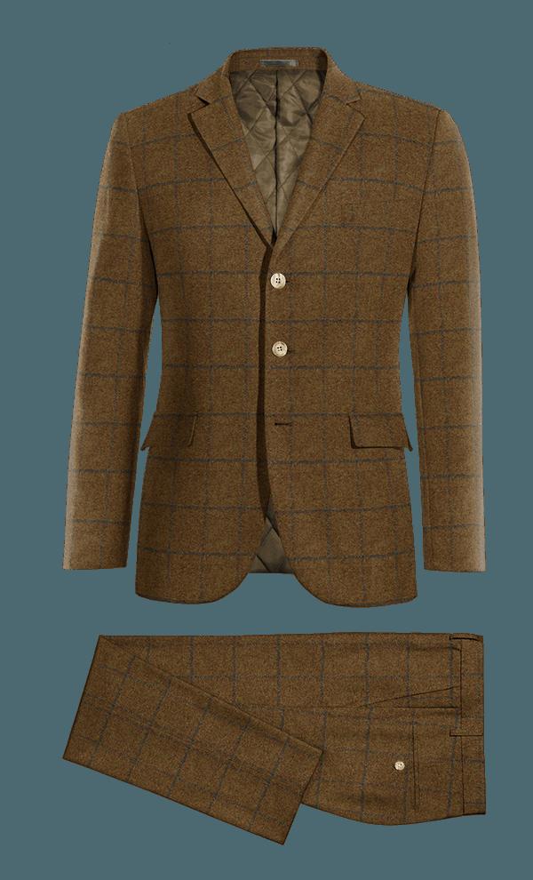 Costume marron à carreaux en tweed