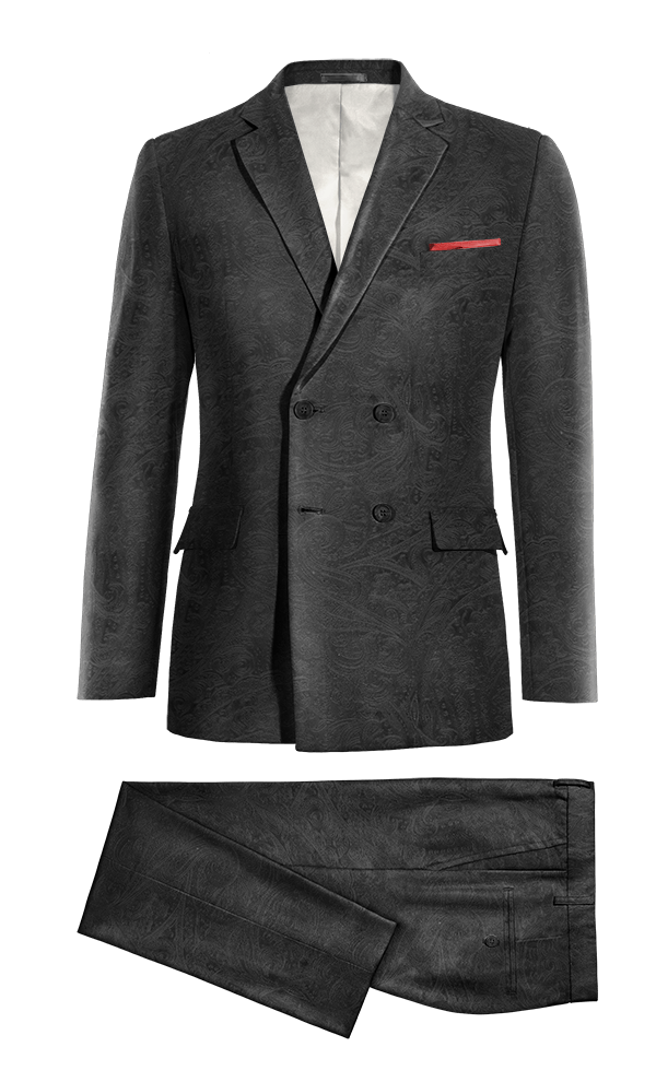 Black Double breasted paisley velvet Suit