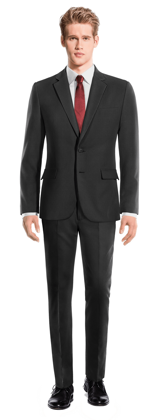 Black striped 100% Wool Suit