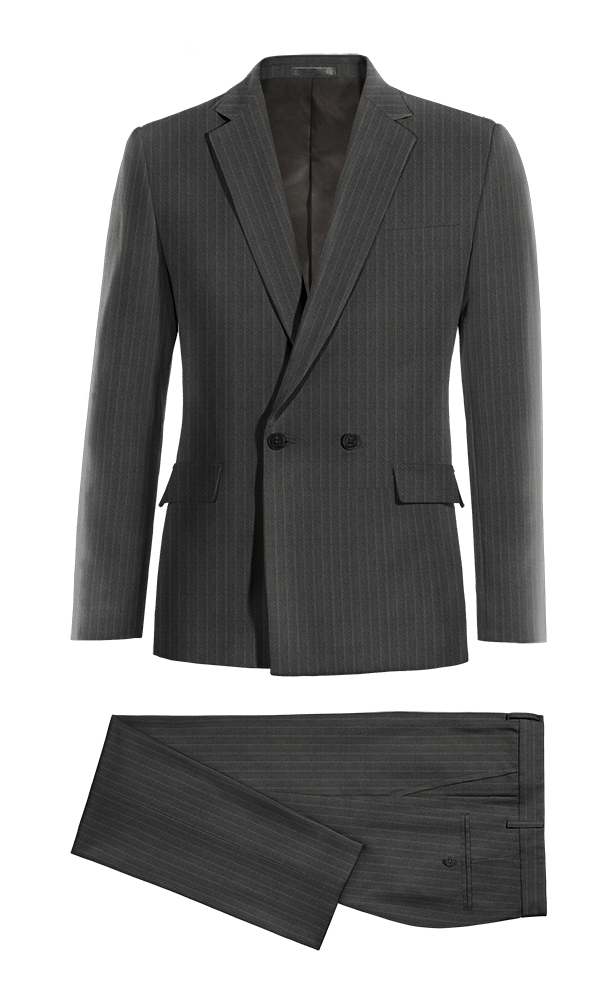 Grey Double breasted striped wool Suit