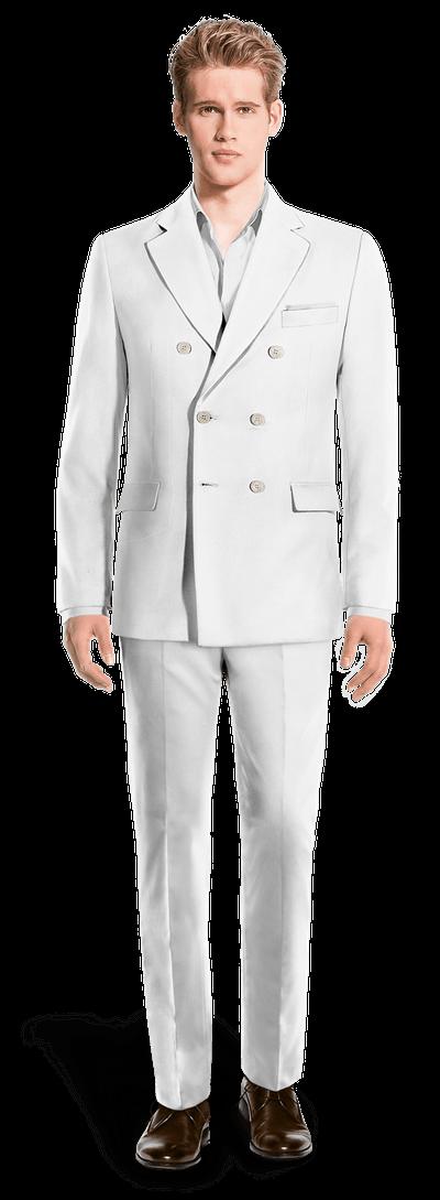 Larges Pochette Lin Revers Avec En Blanc Croisé Costume OvwmnN08