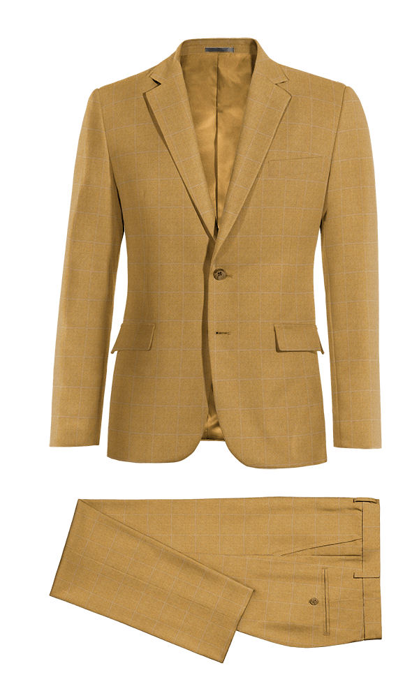 Brown checked 100% Wool Suit