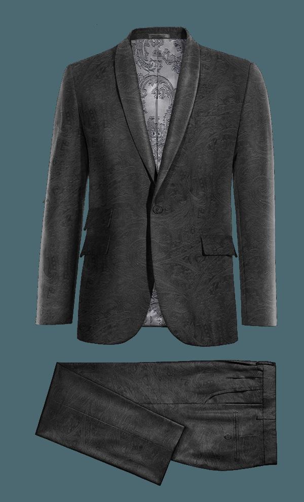 Costume noir paisley en Velours