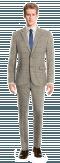 Costume marron à carreaux 100% laine-Vue Avant