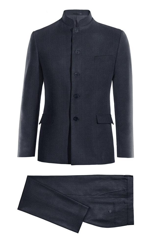 Costume bleu Mao 100% laine
