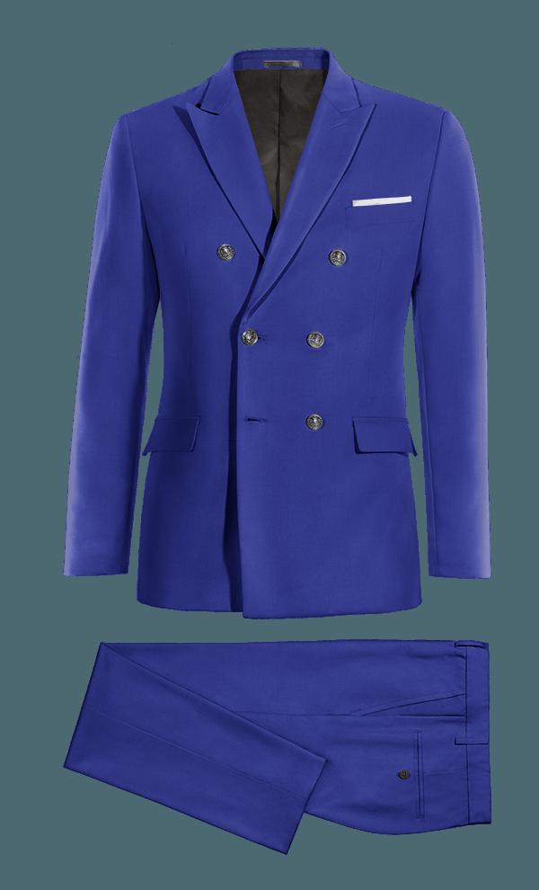 Costume bleu croisé en Laine