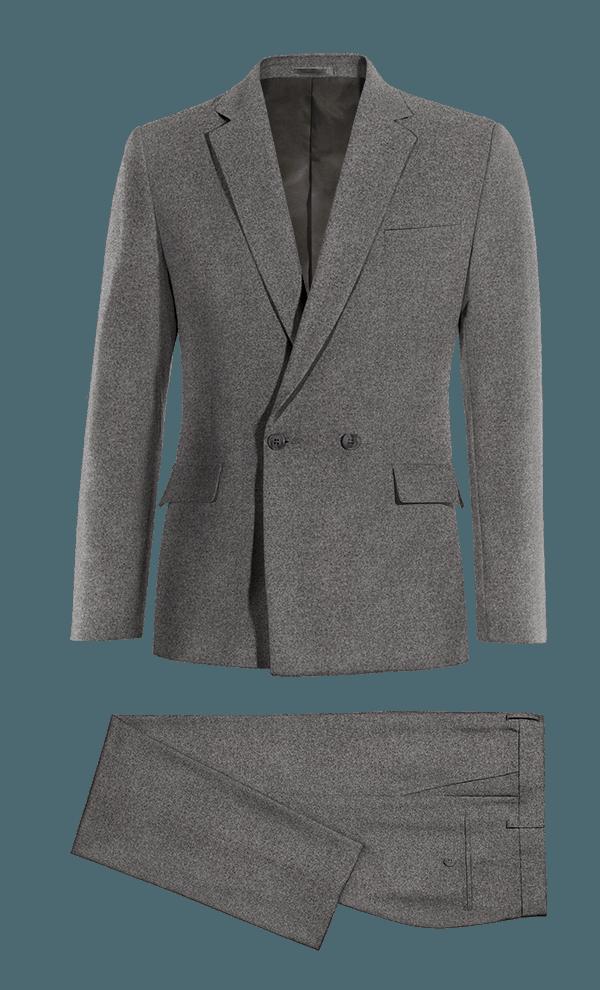 Costume gris croisé en Coton