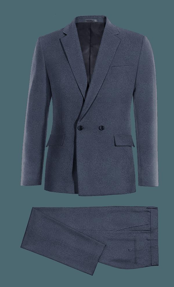 Costume bleu croisé en Coton