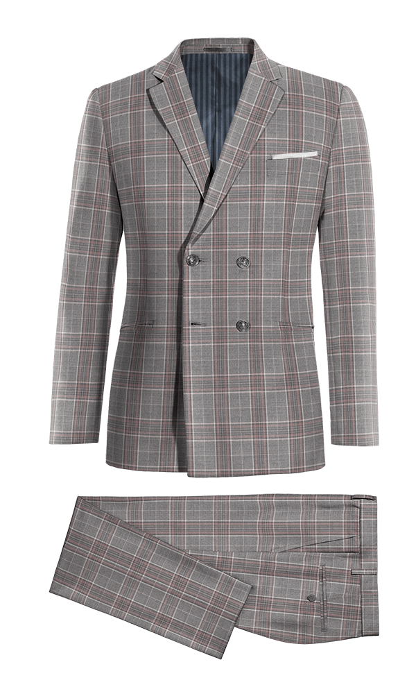 Grey Double breasted checked wool Suit
