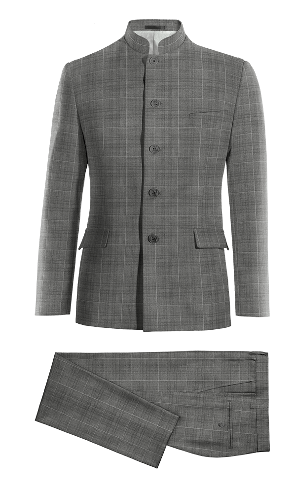Grey Mao checked 100% Wool Suit