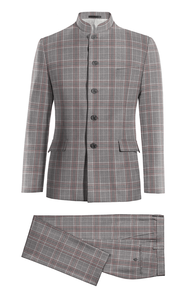 Grey Mao checked wool Suit