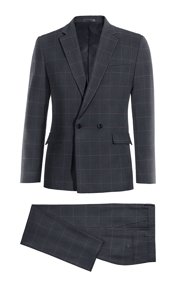 Blue Double breasted checked 100% Wool Suit