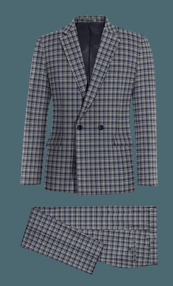 Costume bleu croisé à carreaux 100% laine