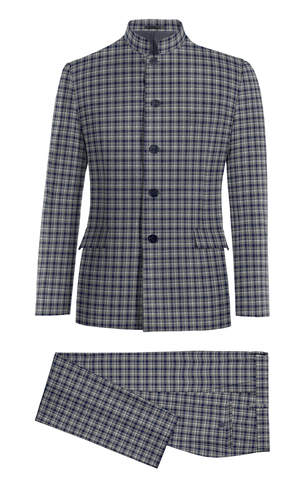 Blue Mao checked 100% Wool Suit