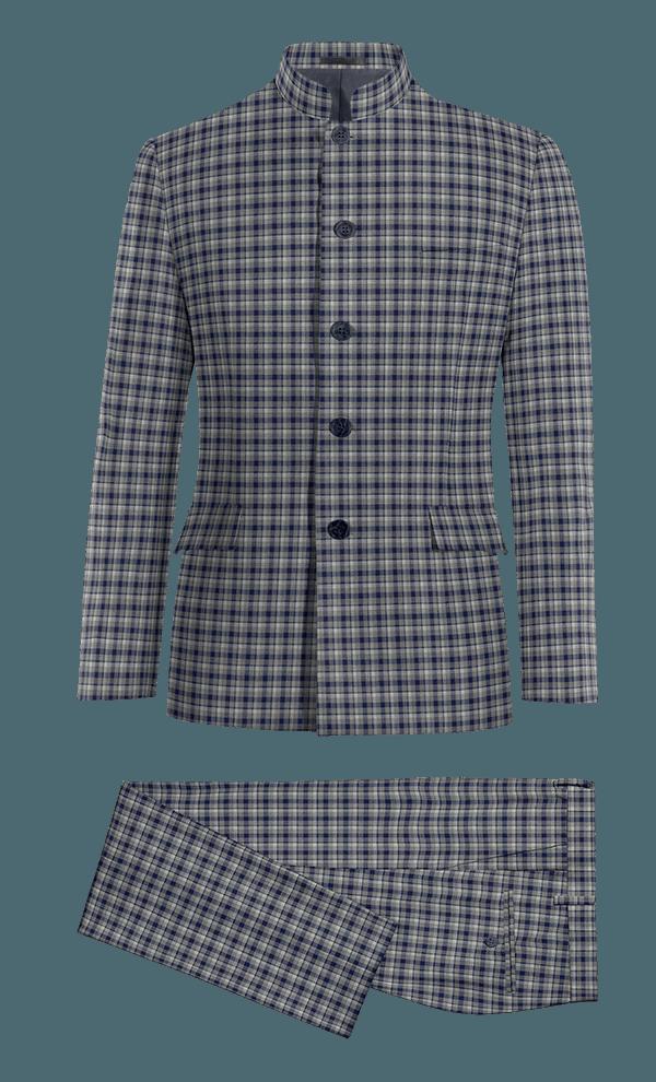 Abito Mao blu a quadri 100% lana