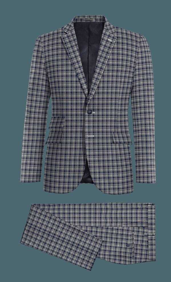 Costume bleu à carreaux 100% laine