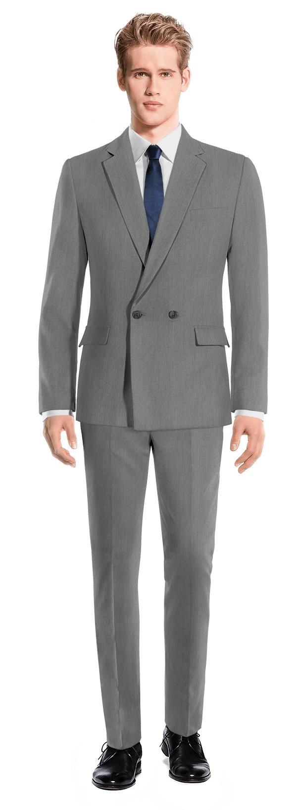 Grey Double breasted 100% Wool Suit