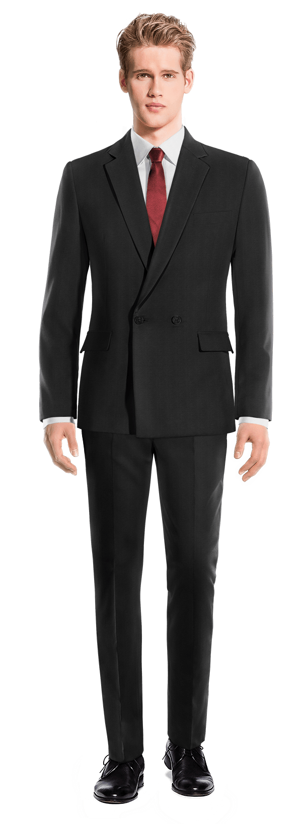 Black Double breasted wool Suit