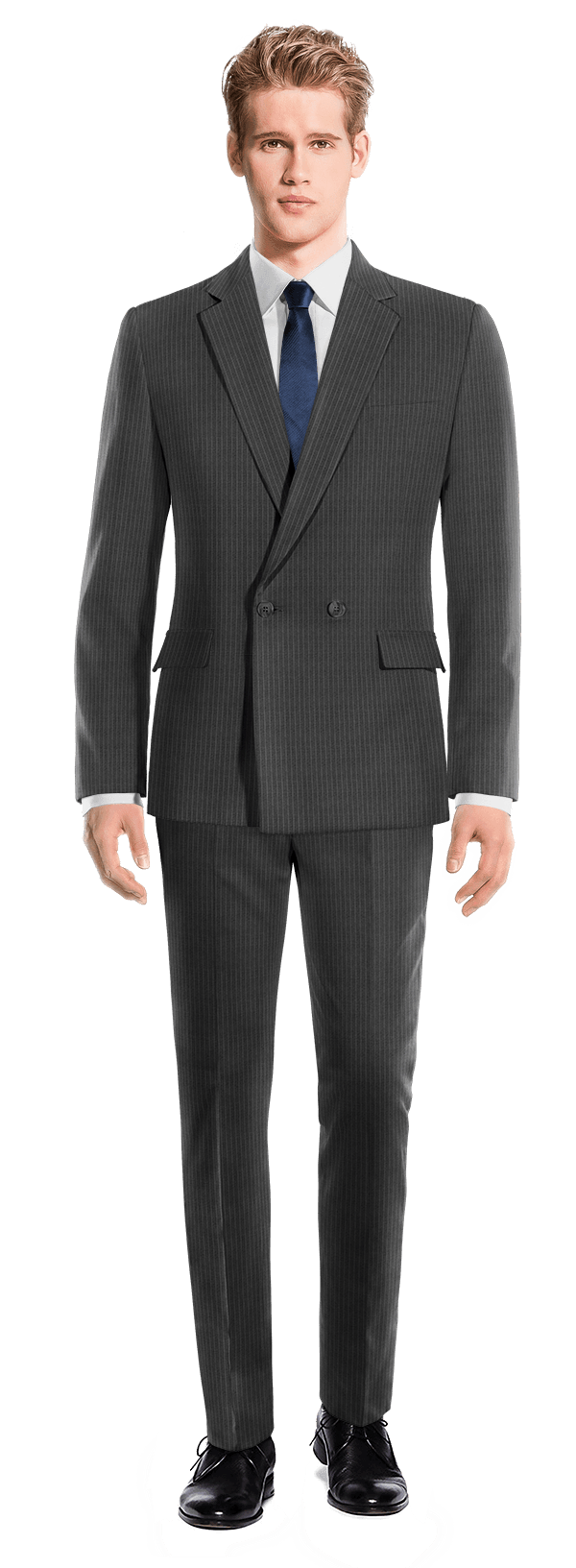 Grey Double breasted striped 100% Wool Suit