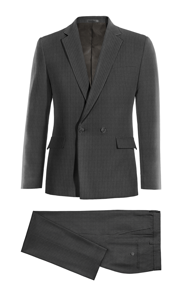 Costume gris croisé à rayures 100% laine