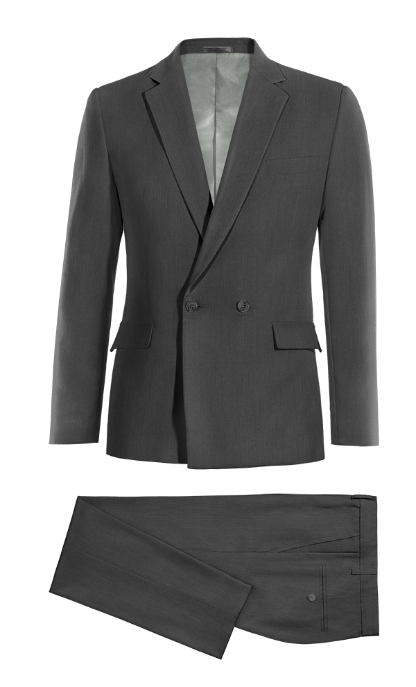 Grey Double breasted wool Suit