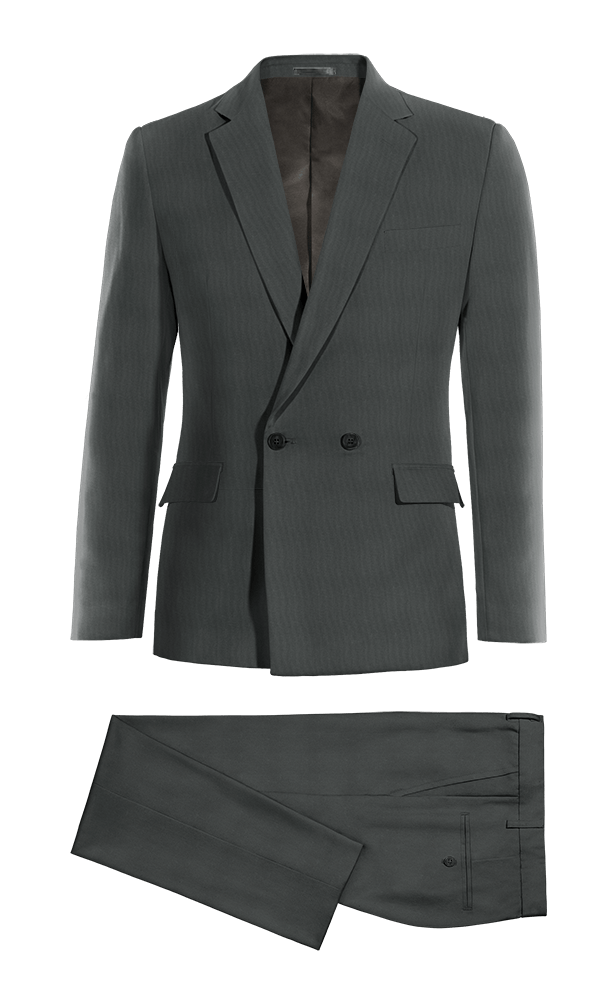 Costume gris croisé 100% laine