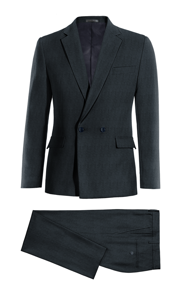 Blue Double breasted striped corduroy Suit