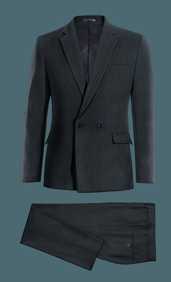 Costume bleu croisé à rayures en Velours côtelé