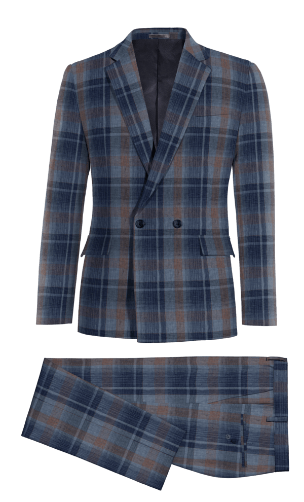 Blue Double breasted checked linen Suit