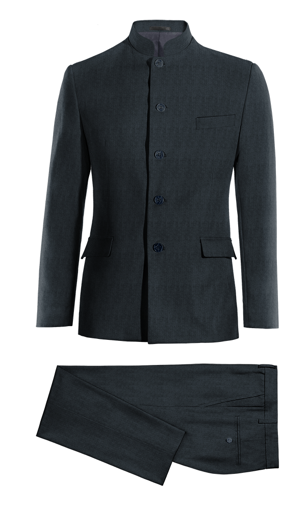 Blue Mao striped corduroy Suit