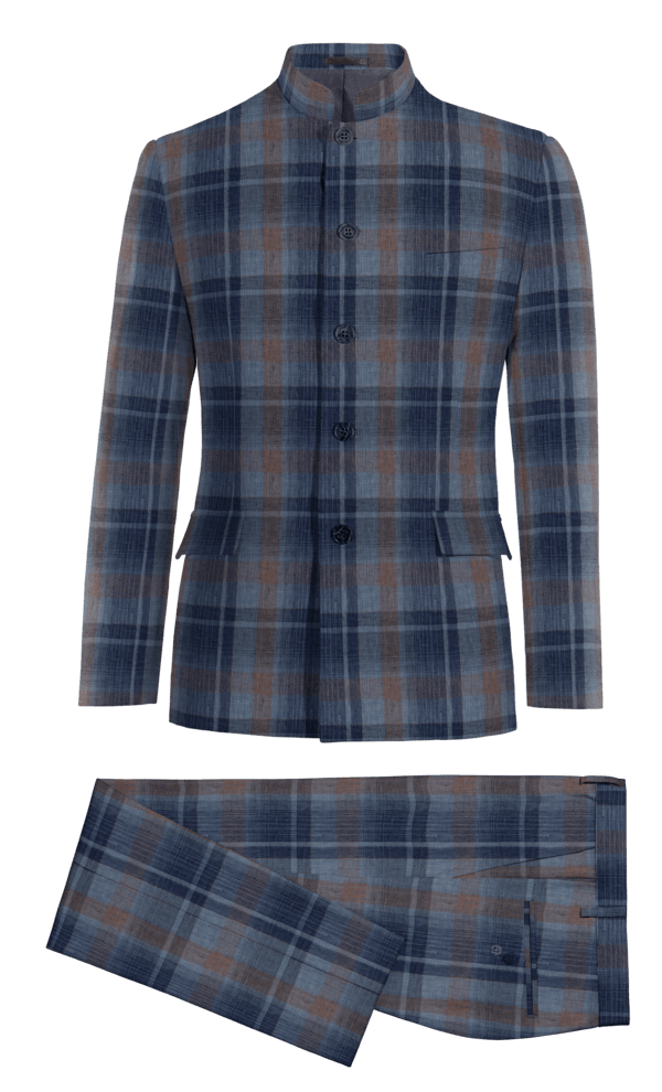 Blue Mao checked linen Suit