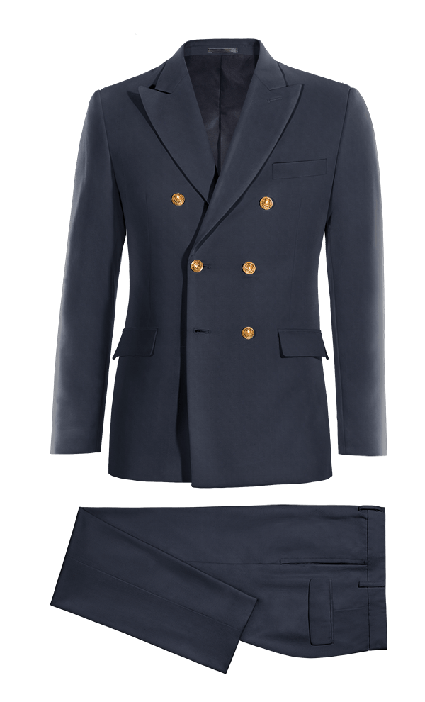 Blue Double breasted wool Suit