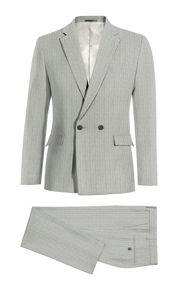 Grey Double breasted striped linen Suit
