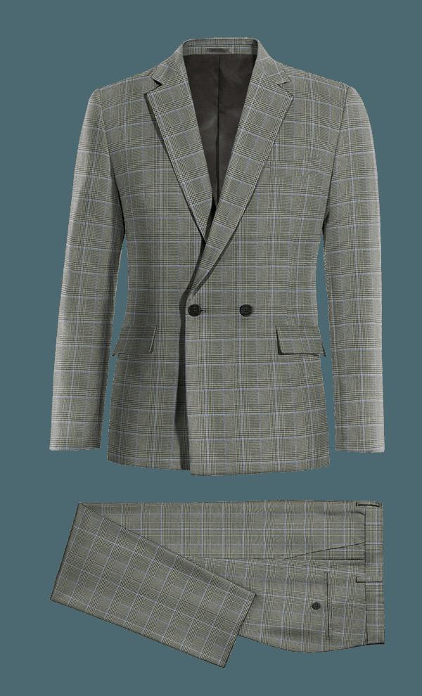 Costume gris croisé à carreaux en Laine