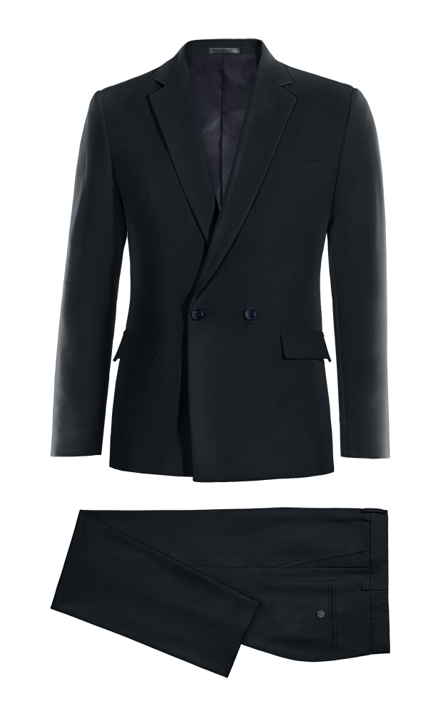 Blue Double breasted 100% Wool Suit
