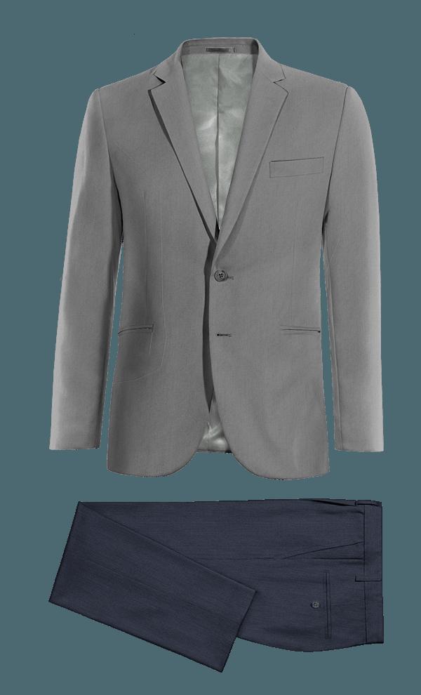 Veste gris en Laine & Pantalon bleu coupe droite en Lin