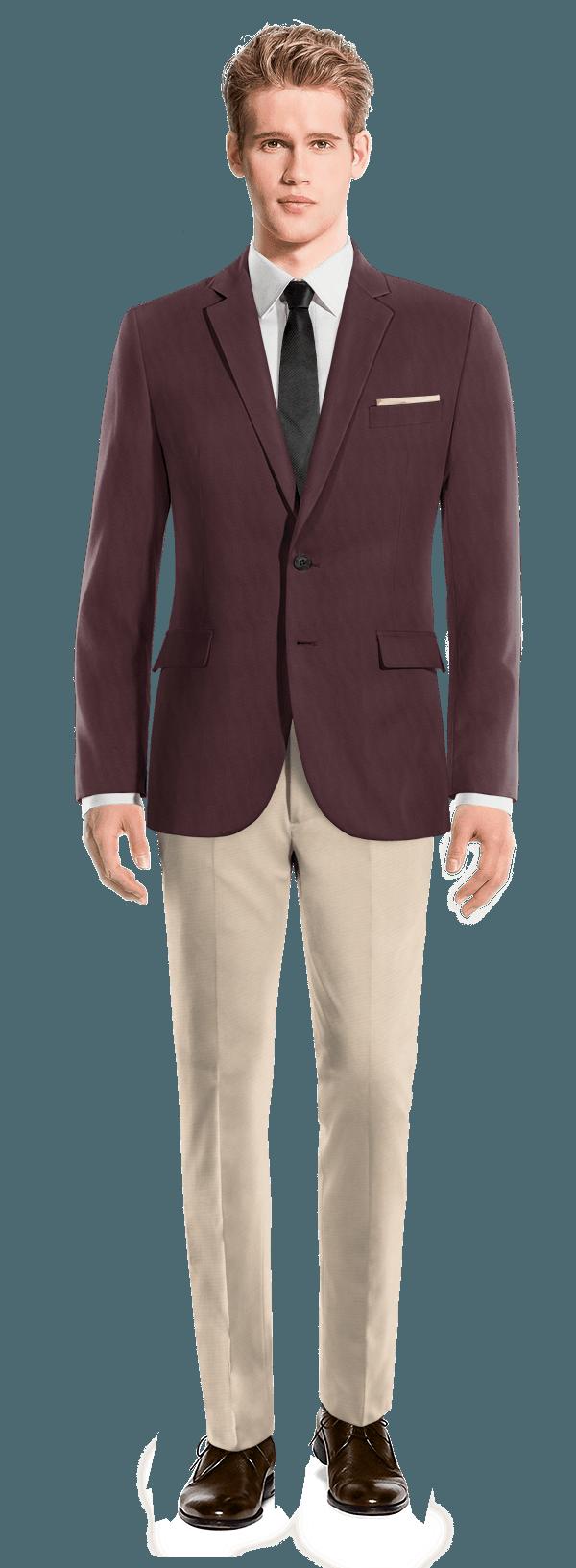 veste rouge en laine et pantalon beige en laine 242 mulberry wine hockerty. Black Bedroom Furniture Sets. Home Design Ideas