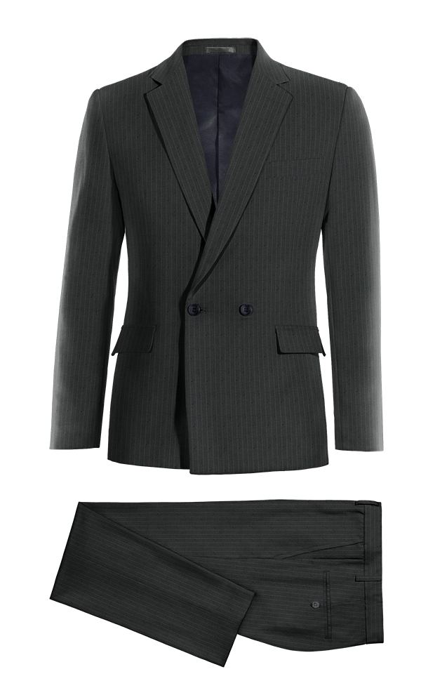 Blue Double breasted striped wool Suit