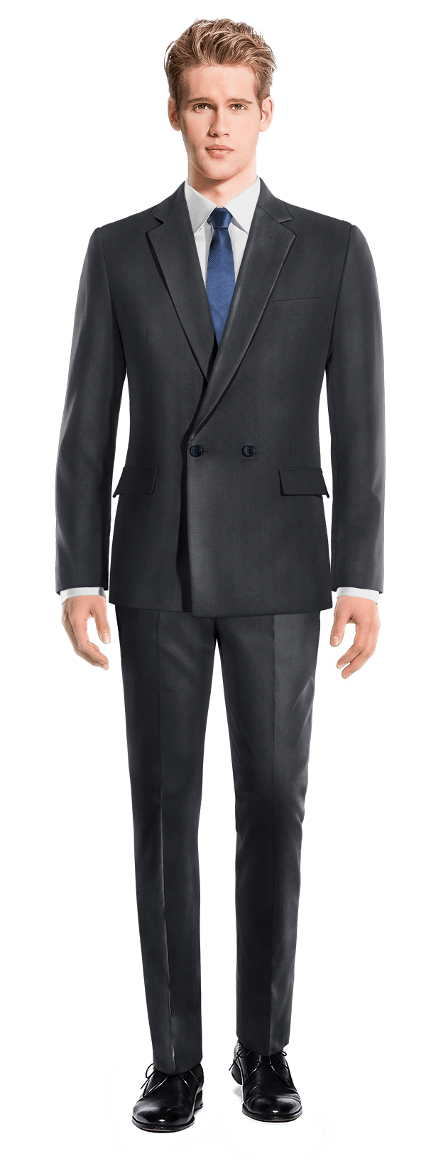 Blue Double breasted polyester Suit