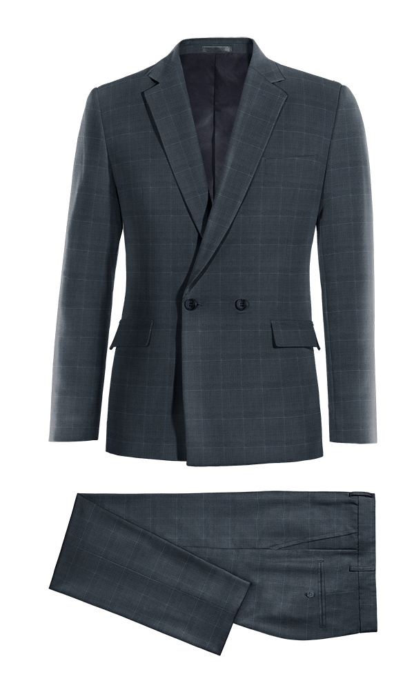 Blue Double breasted checked Merino wool Suit